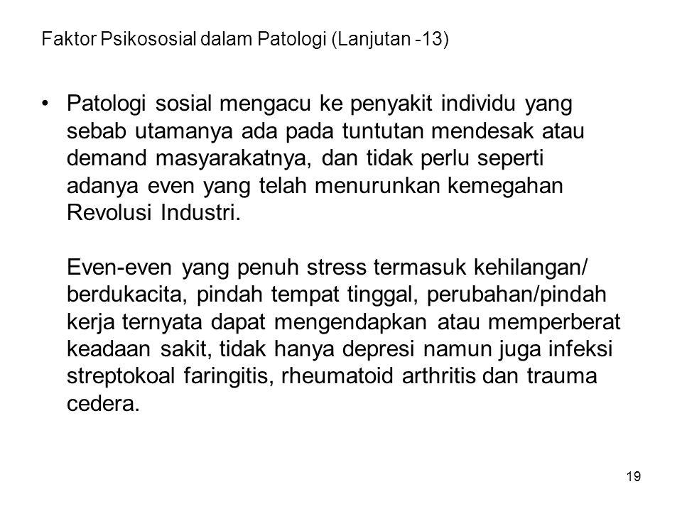Faktor Psikososial dalam Patologi (Lanjutan -13)