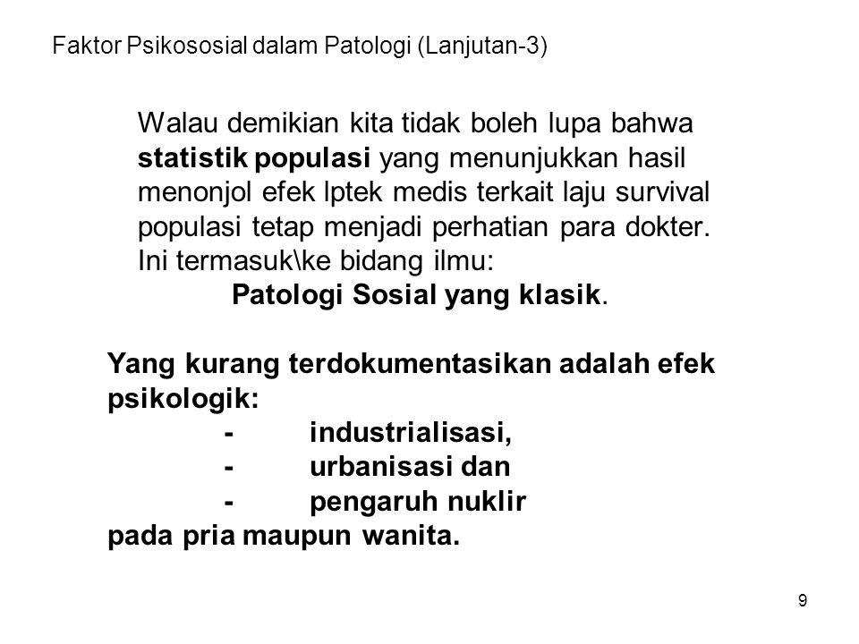 Faktor Psikososial dalam Patologi (Lanjutan-3)