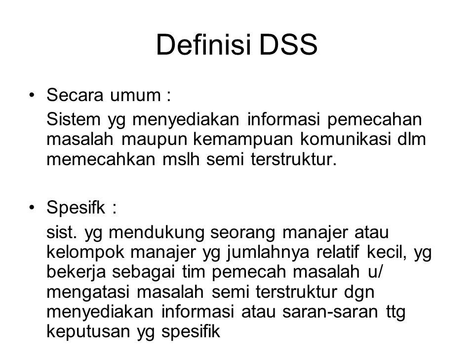 Definisi DSS Secara umum :
