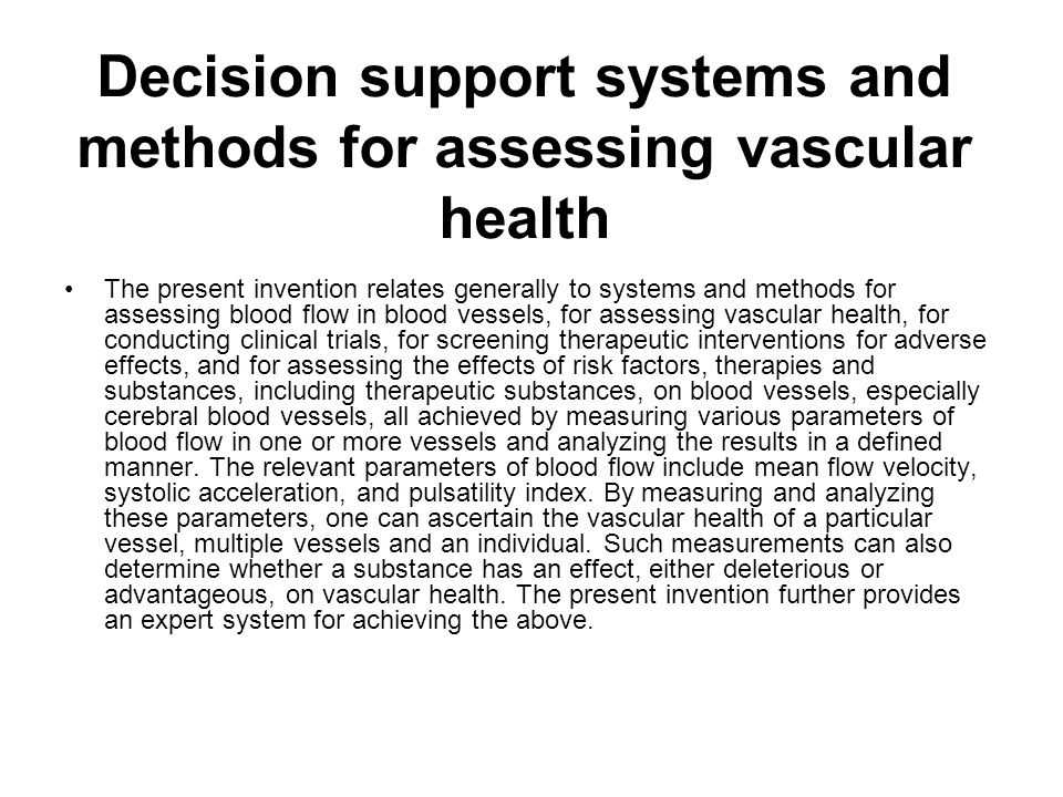 Decision support systems and methods for assessing vascular health