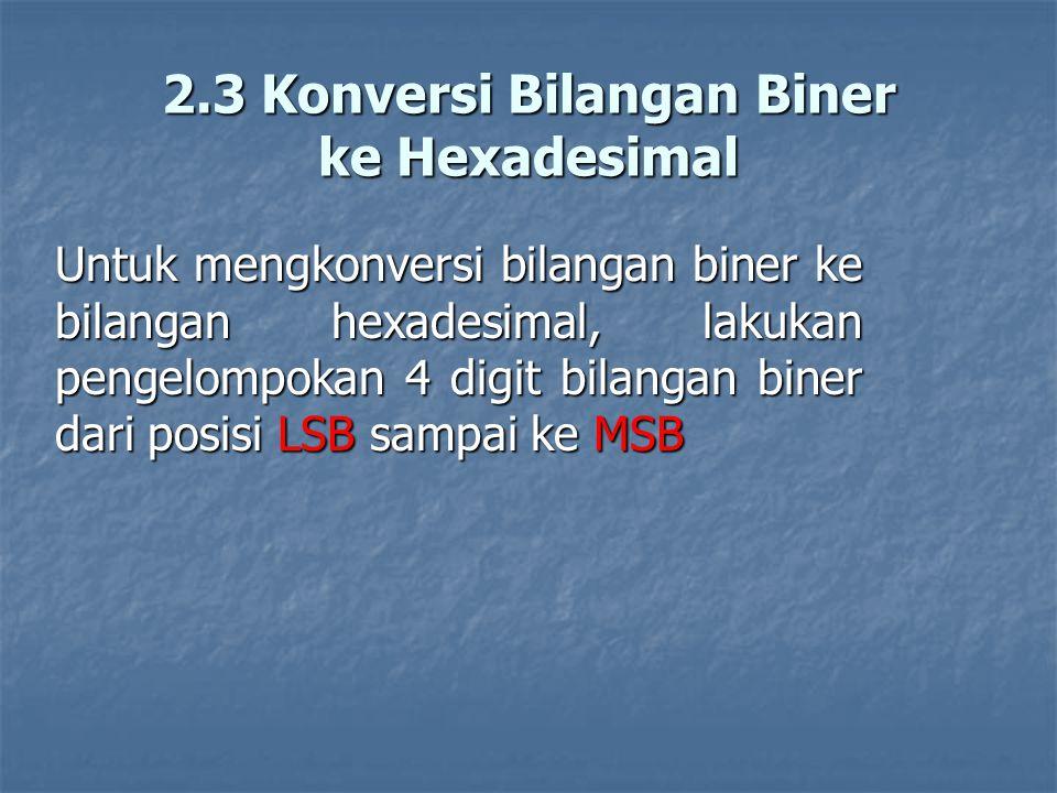 2.3 Konversi Bilangan Biner ke Hexadesimal