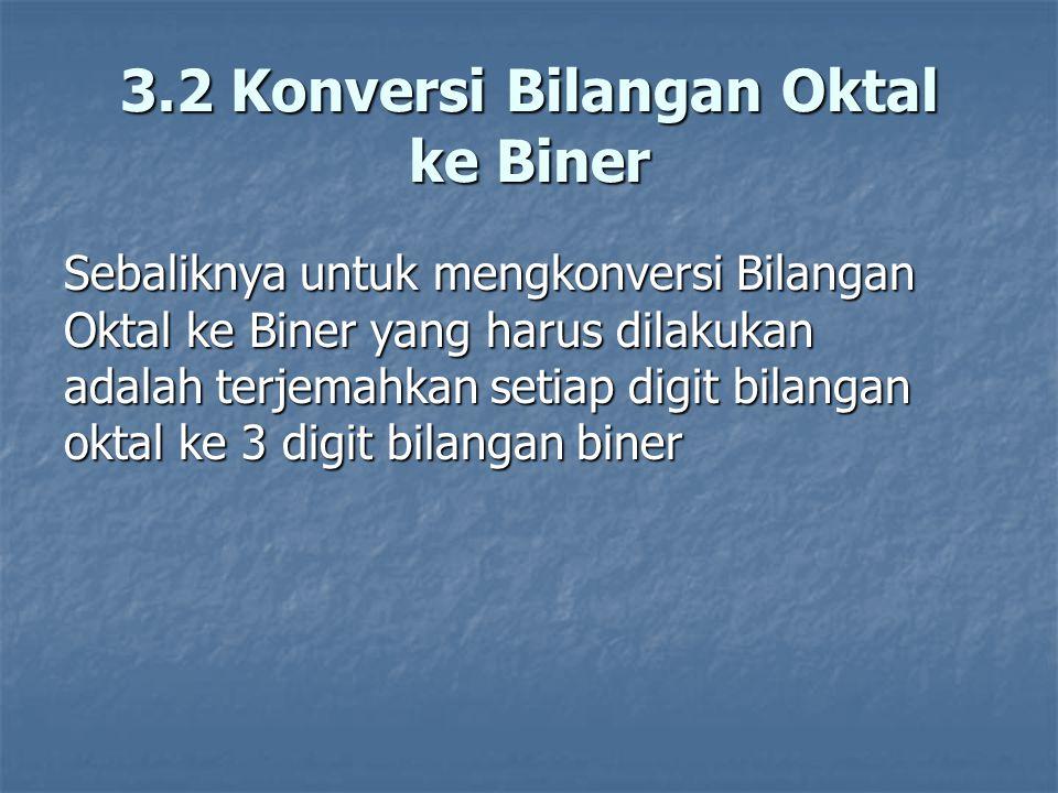 3.2 Konversi Bilangan Oktal ke Biner