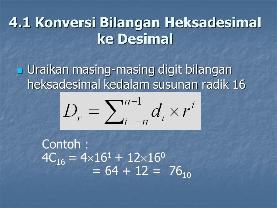 4.1 Konversi Bilangan Heksadesimal
