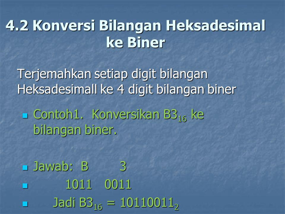 4.2 Konversi Bilangan Heksadesimal ke Biner
