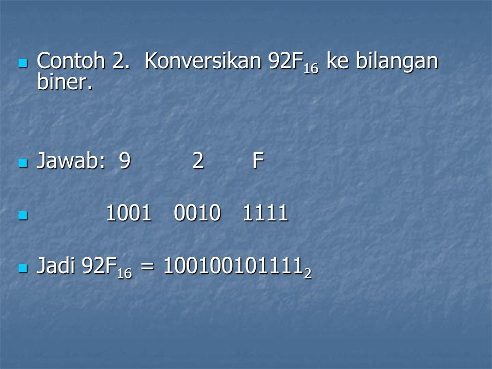 Contoh 2. Konversikan 92F16 ke bilangan biner.