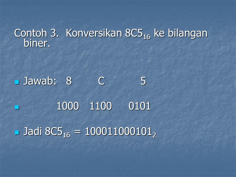 Contoh 3. Konversikan 8C516 ke bilangan biner.