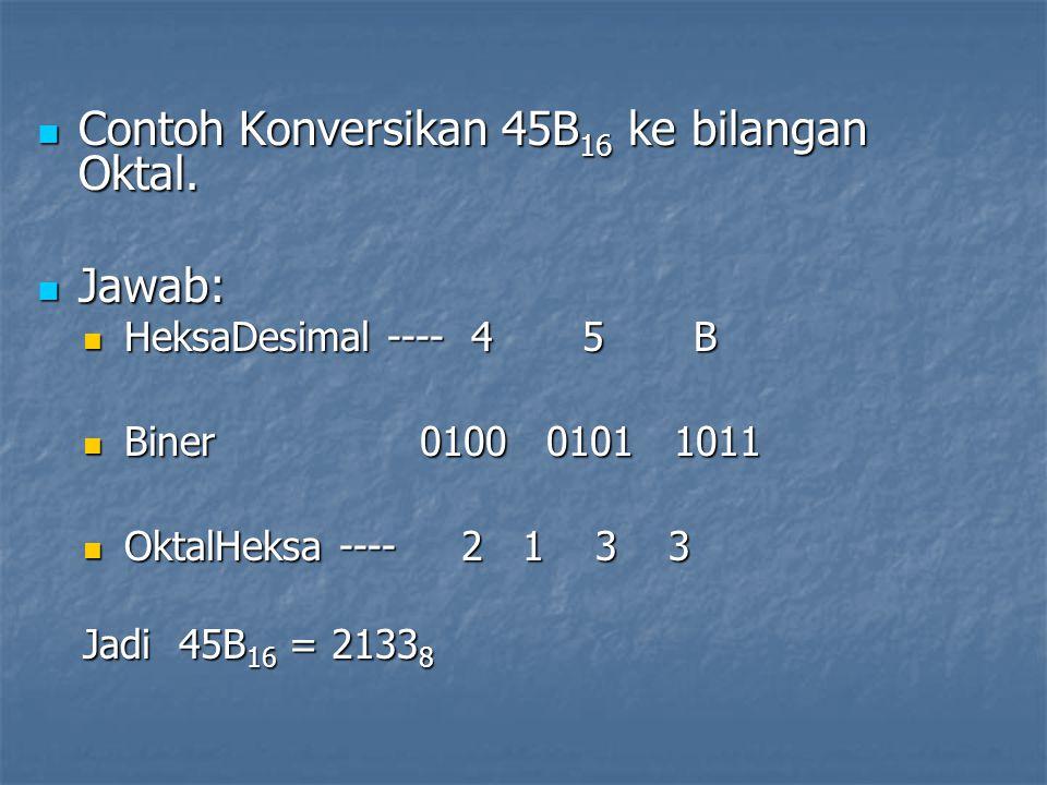 Contoh Konversikan 45B16 ke bilangan Oktal.