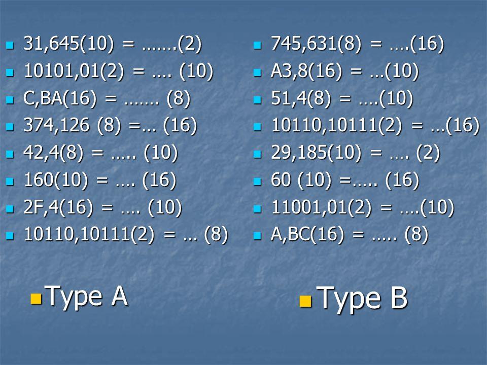 Type B Type A 31,645(10) = …….(2) 10101,01(2) = …. (10)