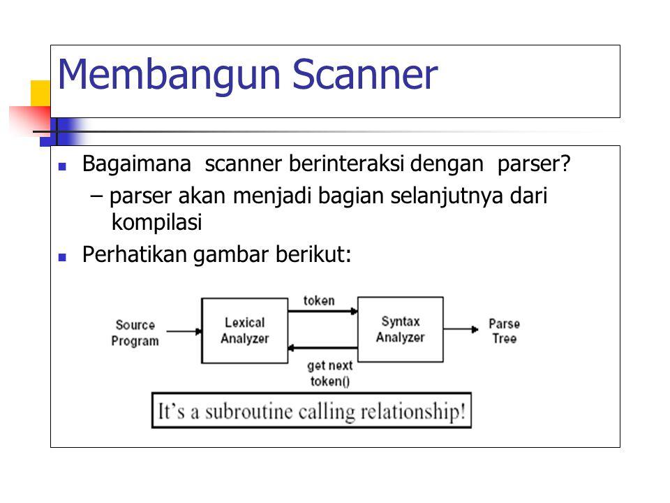 Membangun Scanner Bagaimana scanner berinteraksi dengan parser