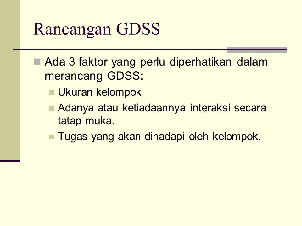 Rancangan GDSS Ada 3 faktor yang perlu diperhatikan dalam merancang GDSS: Ukuran kelompok. Adanya atau ketiadaannya interaksi secara tatap muka.