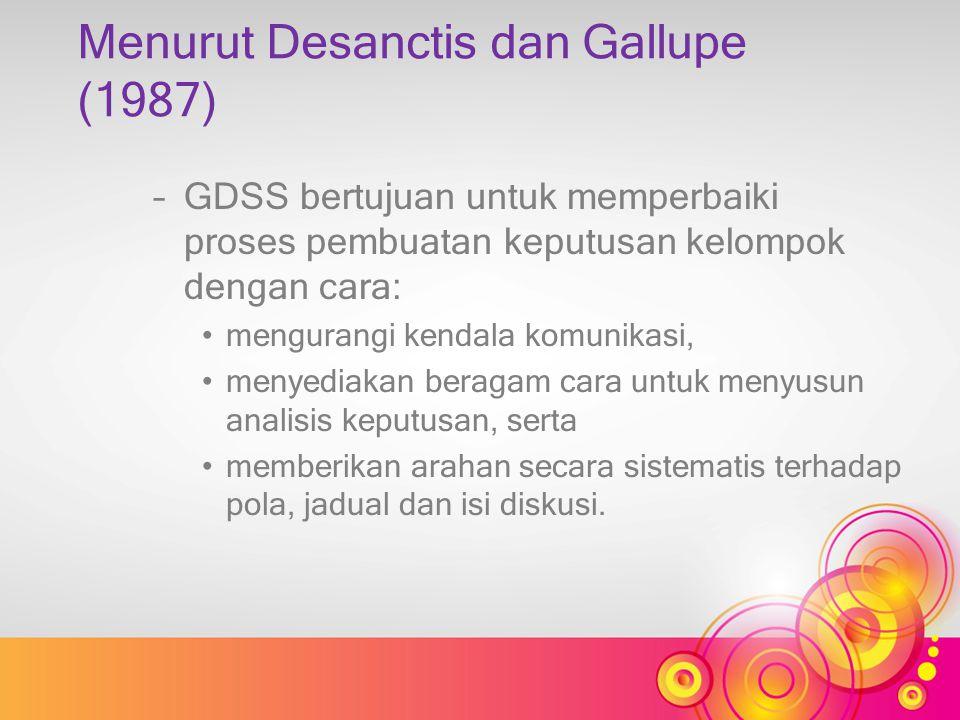 Menurut Desanctis dan Gallupe (1987)