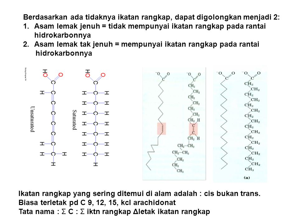 Berdasarkan ada tidaknya ikatan rangkap, dapat digolongkan menjadi 2: