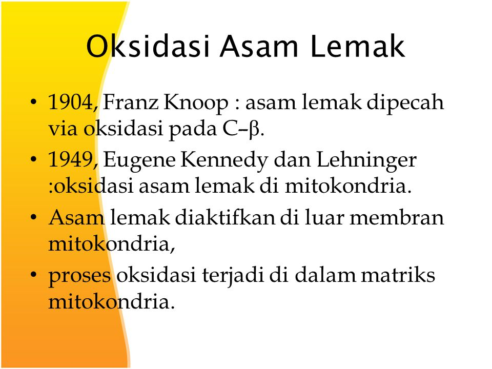 Oksidasi Asam Lemak 1904, Franz Knoop : asam lemak dipecah via oksidasi pada C–β.