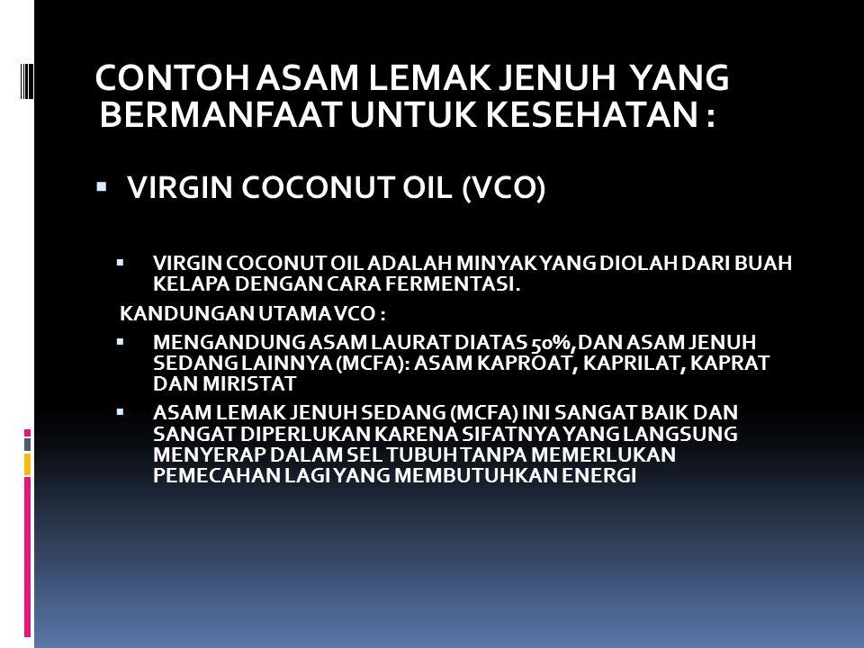 CONTOH ASAM LEMAK JENUH YANG BERMANFAAT UNTUK KESEHATAN :