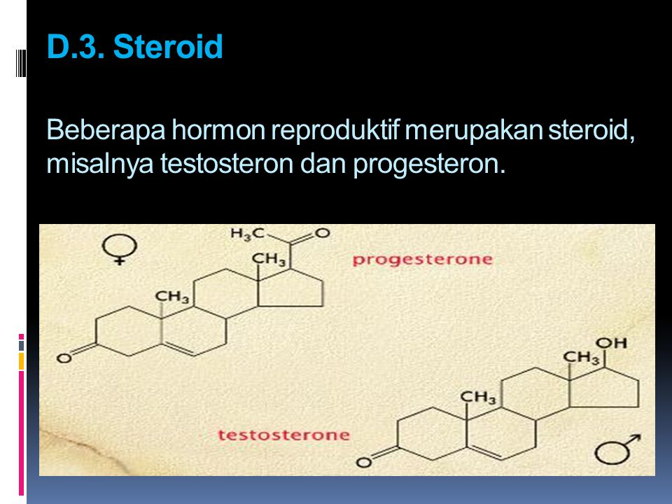 D.3. Steroid Beberapa hormon reproduktif merupakan steroid, misalnya testosteron dan progesteron.