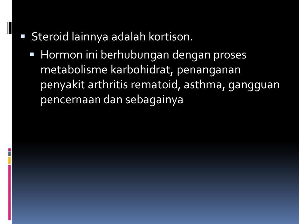 Steroid lainnya adalah kortison.