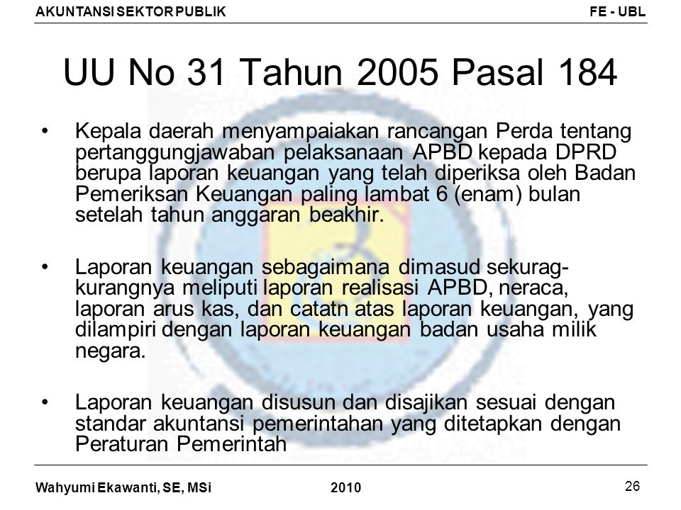 UU No 31 Tahun 2005 Pasal 184