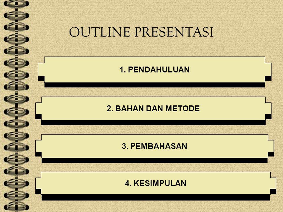 OUTLINE PRESENTASI 1. PENDAHULUAN 2. BAHAN DAN METODE 3. PEMBAHASAN