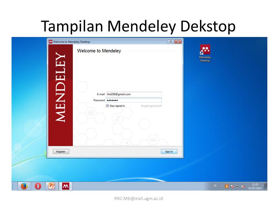 Tampilan Mendeley Dekstop