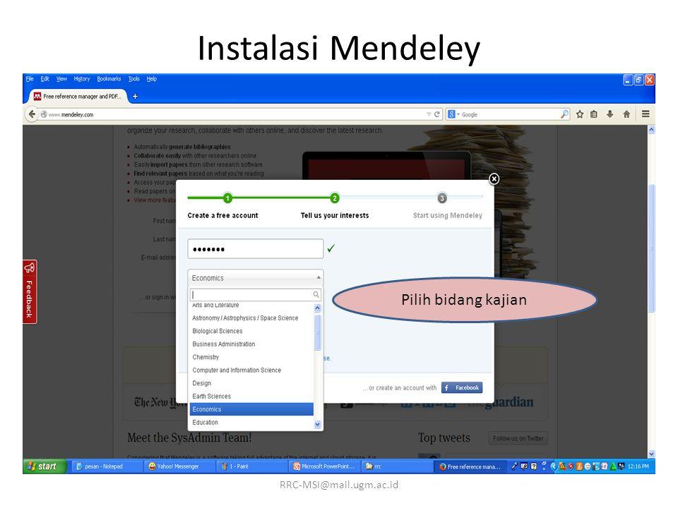 Instalasi Mendeley Pilih bidang kajian RRC-MSI@mail.ugm.ac.id