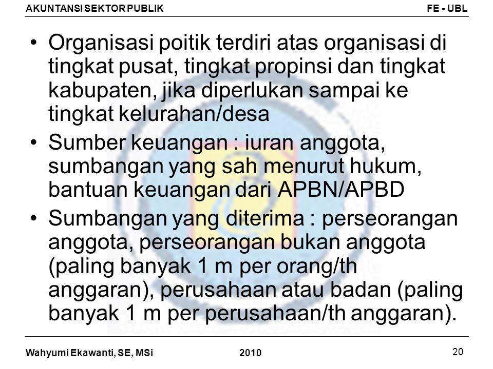 Organisasi poitik terdiri atas organisasi di tingkat pusat, tingkat propinsi dan tingkat kabupaten, jika diperlukan sampai ke tingkat kelurahan/desa