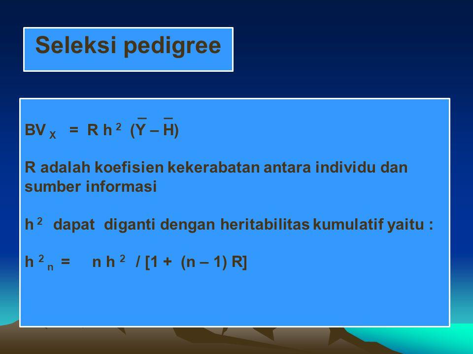 Seleksi pedigree _ _ BV X = R h 2 (Y – H)