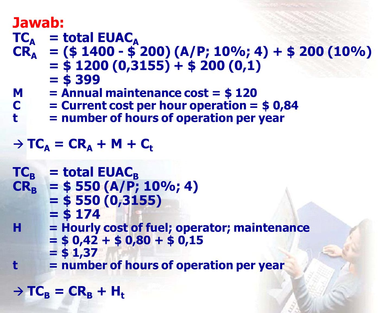 Jawab: TCA. = total EUACA CRA