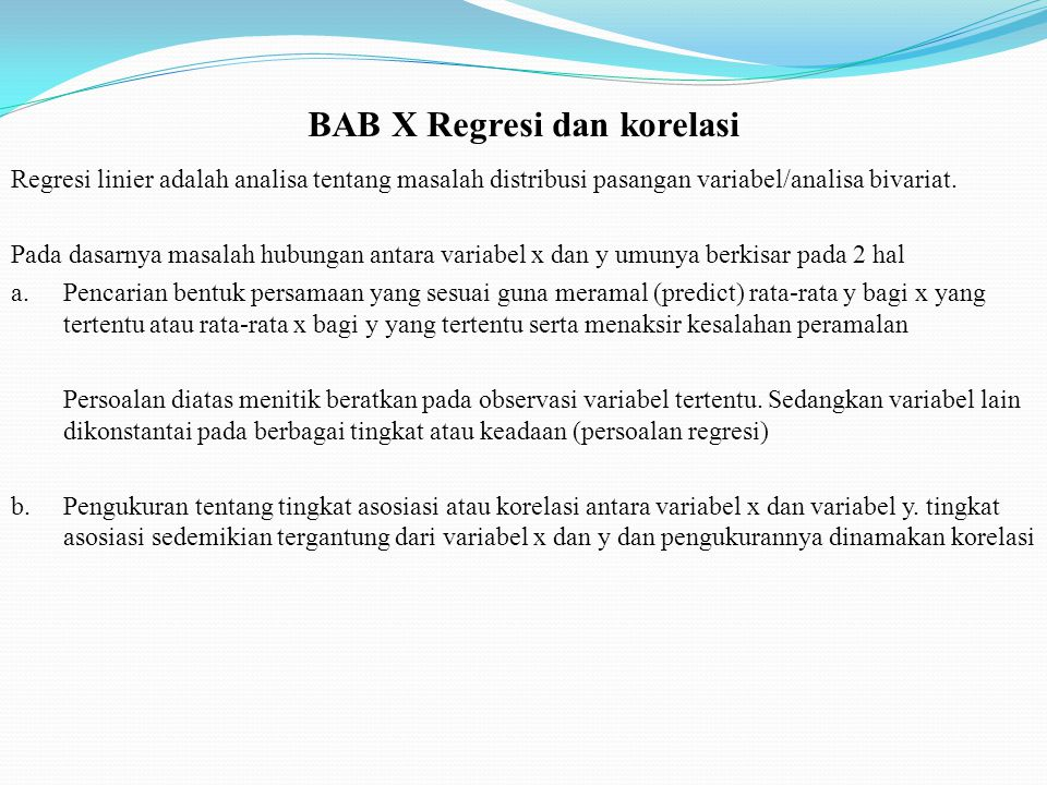 BAB X Regresi dan korelasi