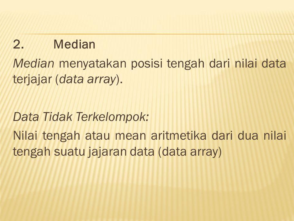 2. Median Median menyatakan posisi tengah dari nilai data terjajar (data array).