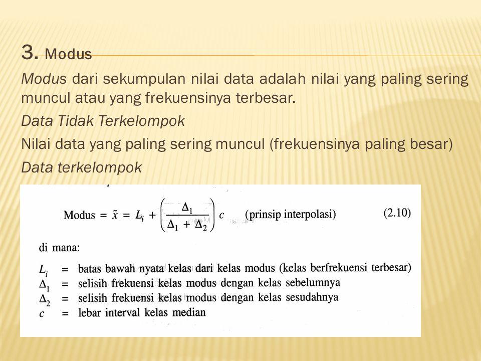 3. Modus Modus dari sekumpulan nilai data adalah nilai yang paling sering muncul atau yang frekuensinya terbesar.