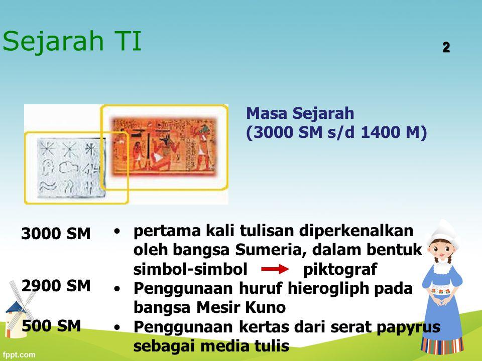 Sejarah TI Masa Sejarah (3000 SM s/d 1400 M)