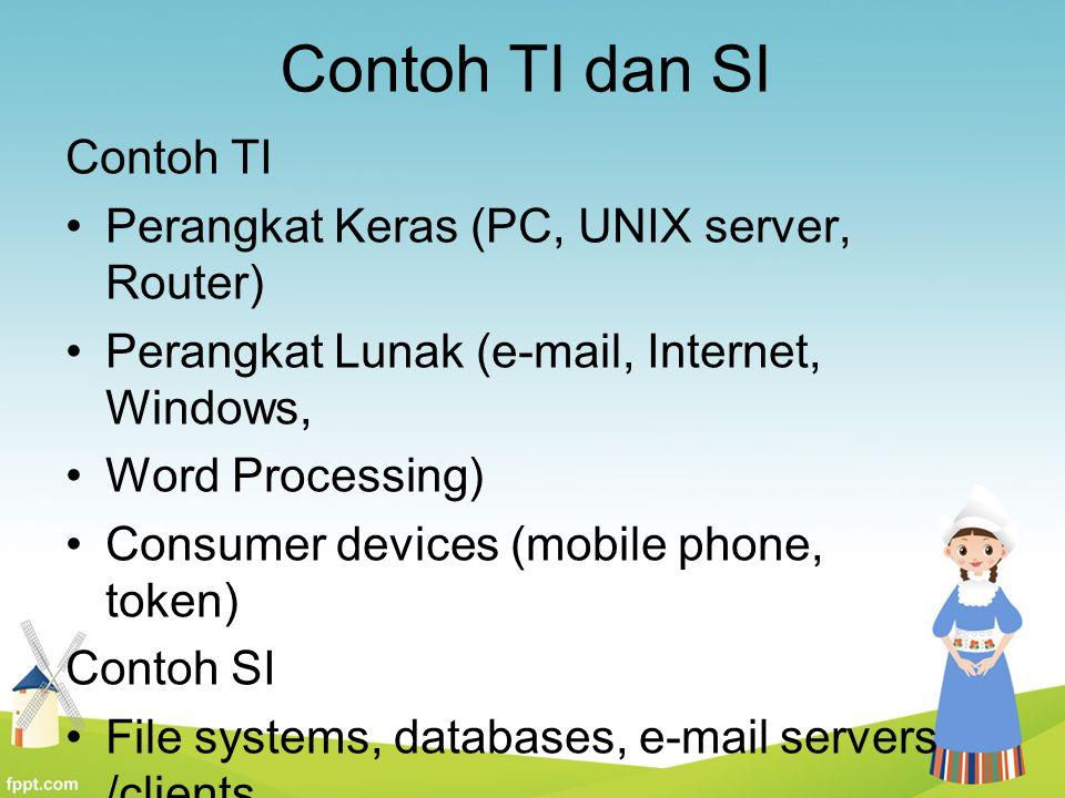 Contoh TI dan SI Contoh TI Perangkat Keras (PC, UNIX server, Router)