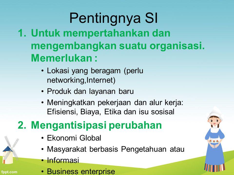 Pentingnya SI Untuk mempertahankan dan mengembangkan suatu organisasi. Memerlukan : Lokasi yang beragam (perlu networking,Internet)