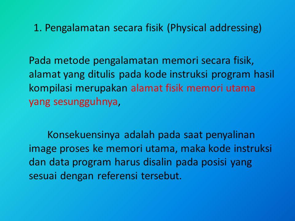 1. Pengalamatan secara fisik (Physical addressing)