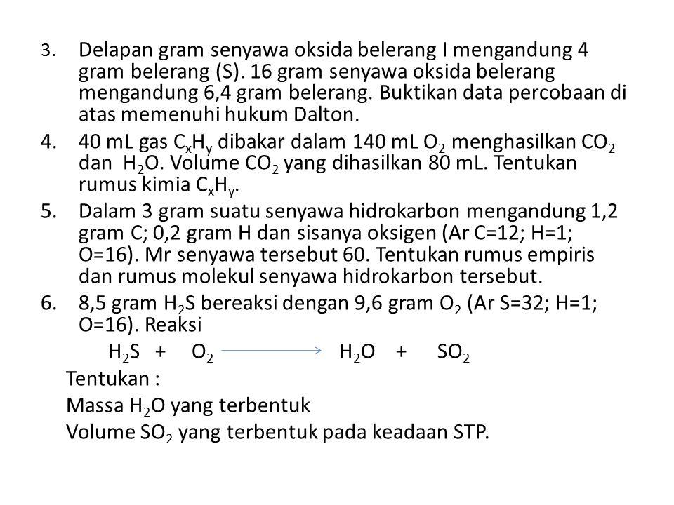 8,5 gram H2S bereaksi dengan 9,6 gram O2 (Ar S=32; H=1; O=16). Reaksi