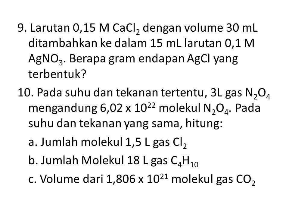 9. Larutan 0,15 M CaCl2 dengan volume 30 mL ditambahkan ke dalam 15 mL larutan 0,1 M AgNO3.
