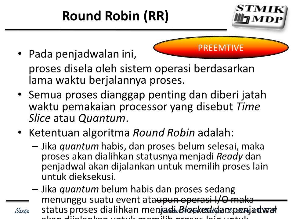 Round Robin (RR) Pada penjadwalan ini,