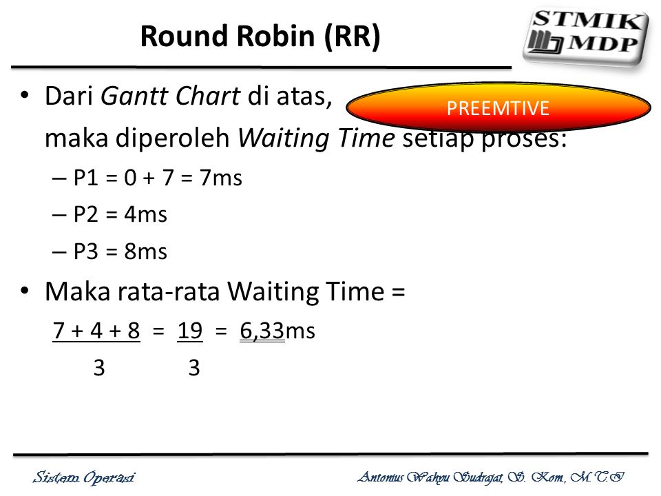Round Robin (RR) Dari Gantt Chart di atas,
