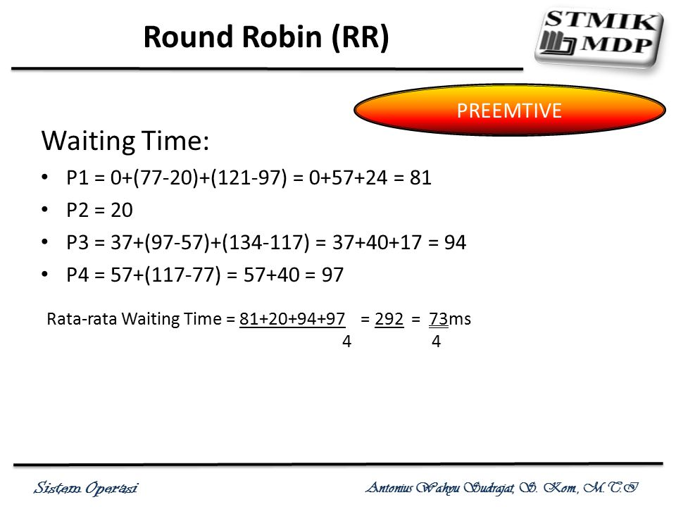 Round Robin (RR) Waiting Time: PREEMTIVE