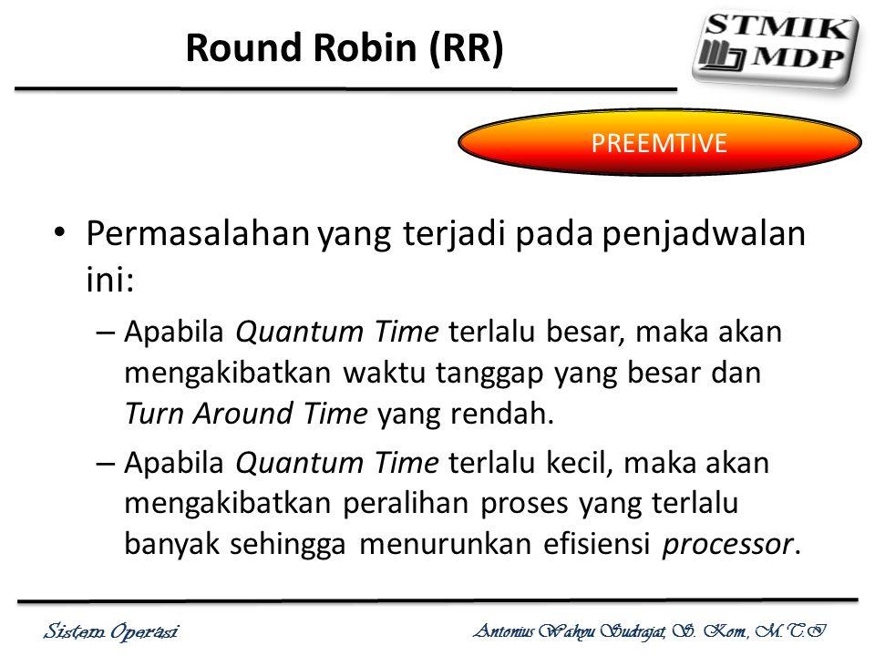Round Robin (RR) Permasalahan yang terjadi pada penjadwalan ini:
