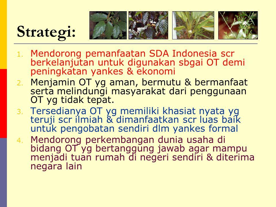 Strategi: Mendorong pemanfaatan SDA Indonesia scr berkelanjutan untuk digunakan sbgai OT demi peningkatan yankes & ekonomi.