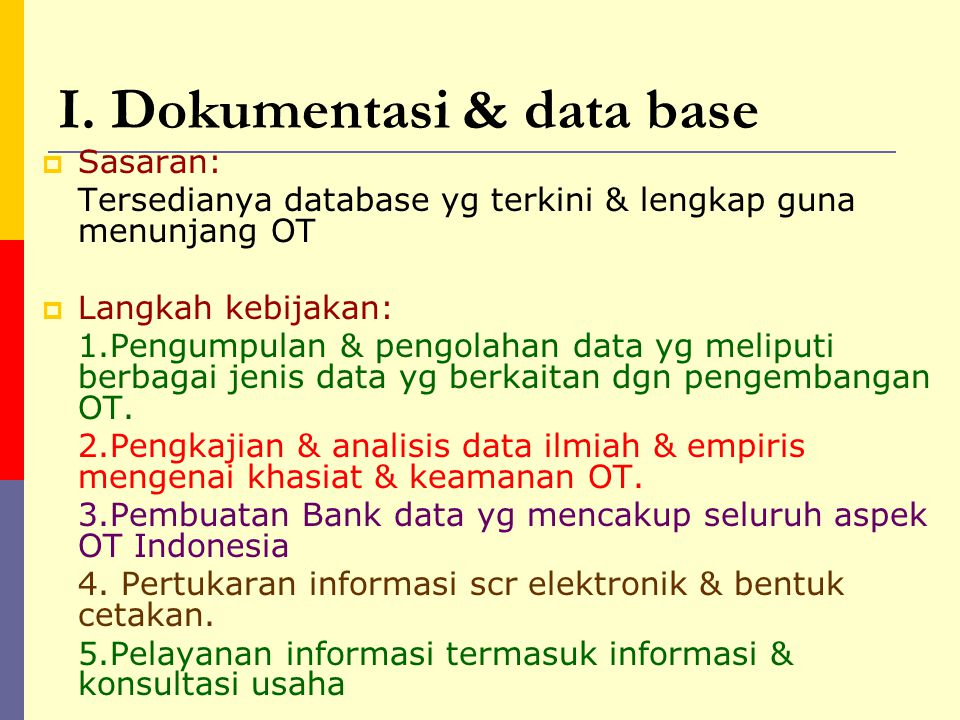 I. Dokumentasi & data base