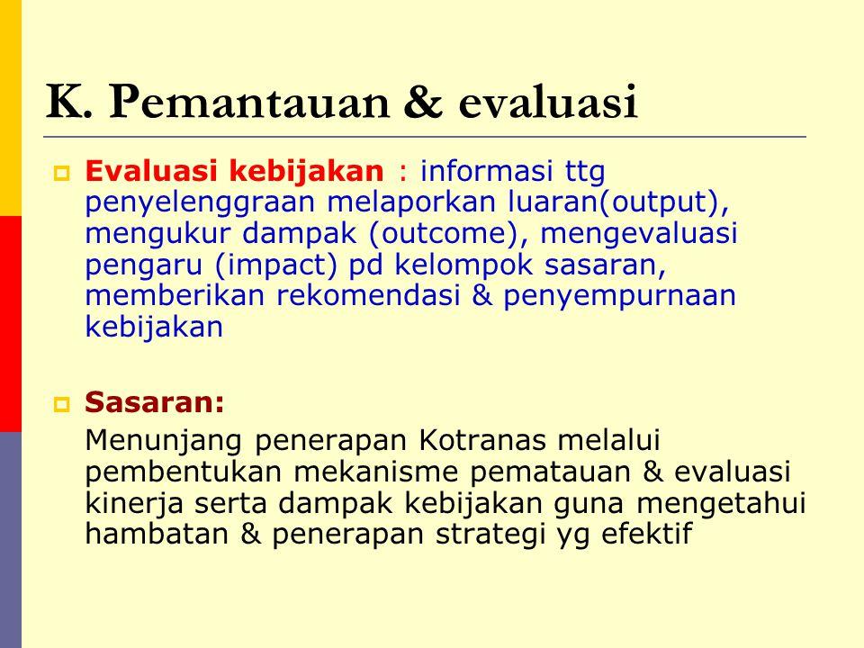 K. Pemantauan & evaluasi