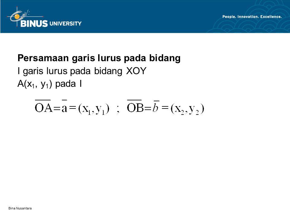 Persamaan garis lurus pada bidang I garis lurus pada bidang XOY