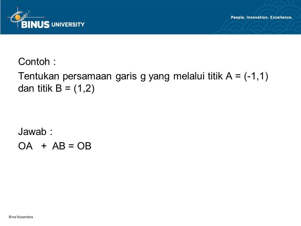 Contoh : Tentukan persamaan garis g yang melalui titik A = (-1,1) dan titik B = (1,2) Jawab : OA + AB = OB.