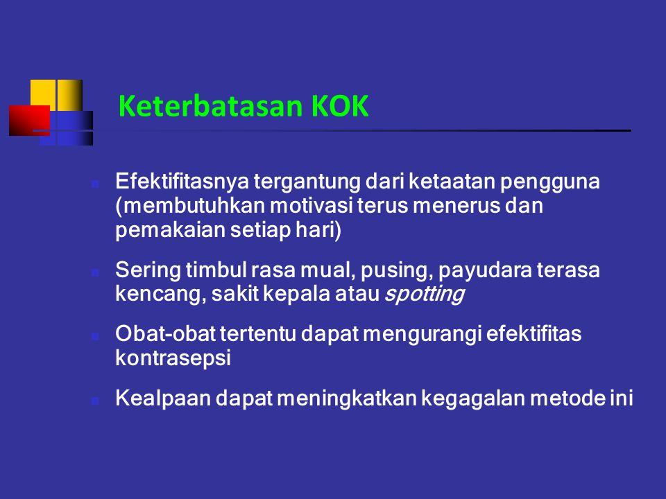 Keterbatasan KOK Efektifitasnya tergantung dari ketaatan pengguna (membutuhkan motivasi terus menerus dan pemakaian setiap hari)