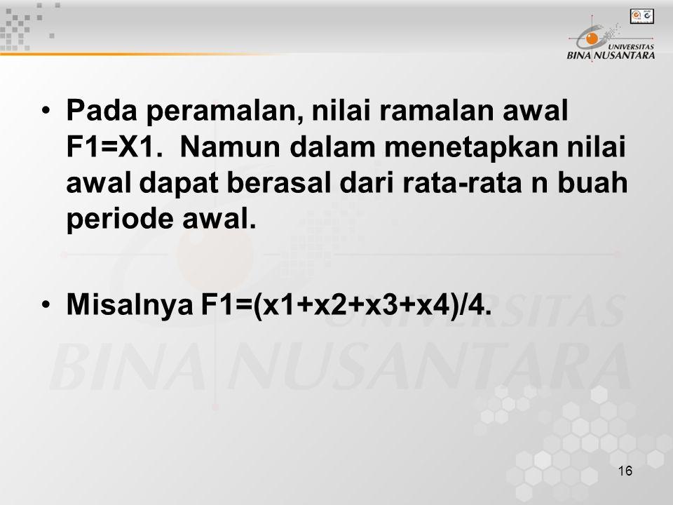 Pada peramalan, nilai ramalan awal F1=X1