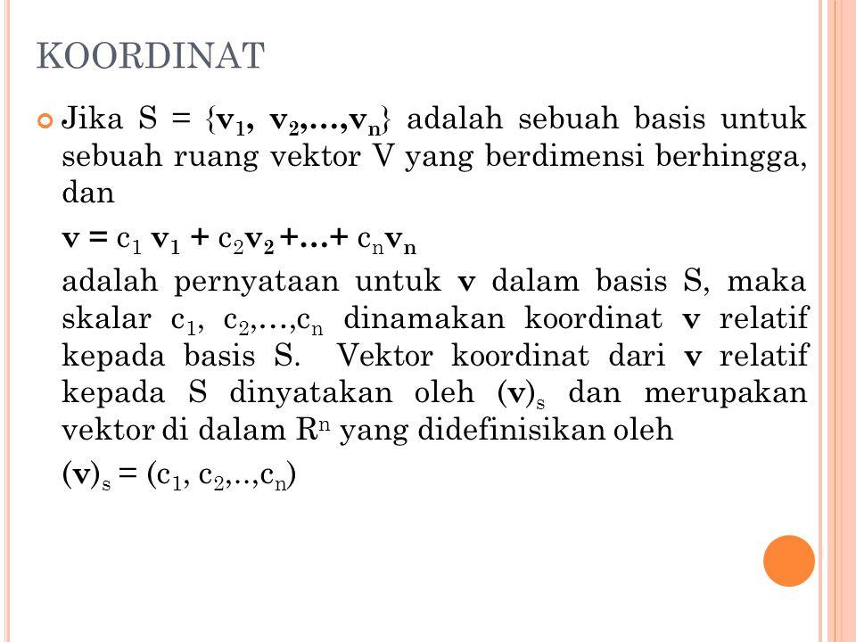 KOORDINAT Jika S = {v1, v2,…,vn} adalah sebuah basis untuk sebuah ruang vektor V yang berdimensi berhingga, dan.