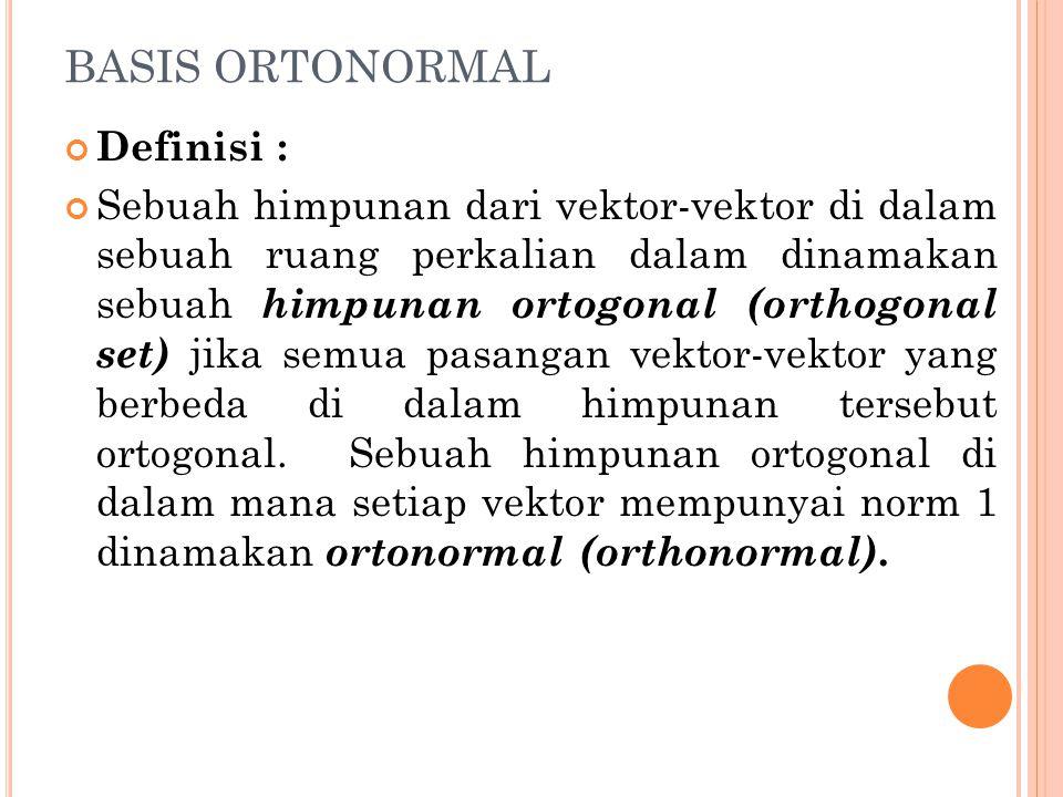 BASIS ORTONORMAL Definisi :