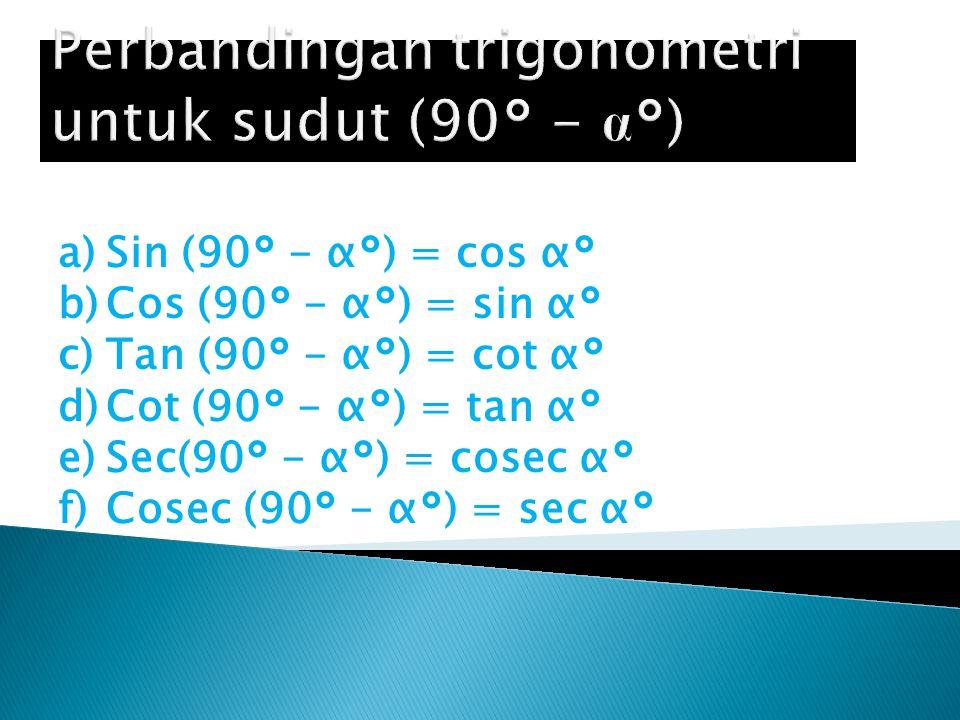 Perbandingan trigonometri untuk sudut (90° - α°)
